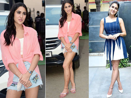 sara ali khan once again flaunts her toned legs in power puff girls denim shorts and matched it with pink and white top
