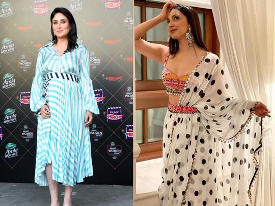 kiara advani in polka dot ruffled saree and kareena kapoor in stripe pleated dress