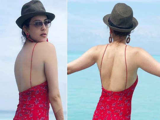 kajal aggarwal red dress honeymoon look left fans swooning over her