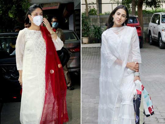 kareena kapoor khan white suit and red dupatta look beats sara ali khan chikankari sharara set look