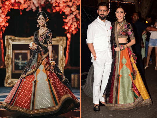bride wears anushka sharma sabyasachi mukherjee multicolour paneled lehenga in her sangeet