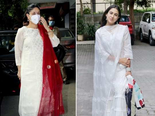 kareena kapoor khan and sara ali khan white colour dress look see photos in marathi