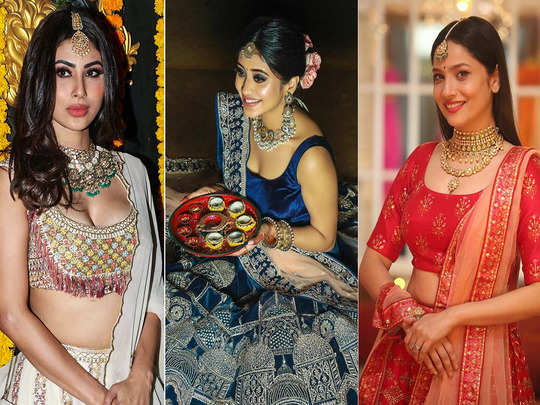 mouni roy to ankita lokhande lehenga look which you can follow for wedding party style
