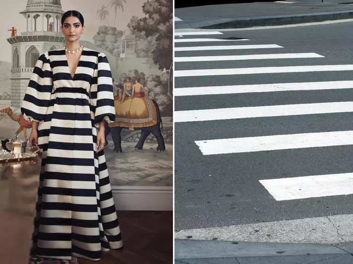sonam kapoor wore stylish black and white striped dress designed by emilia wickstead in marathi