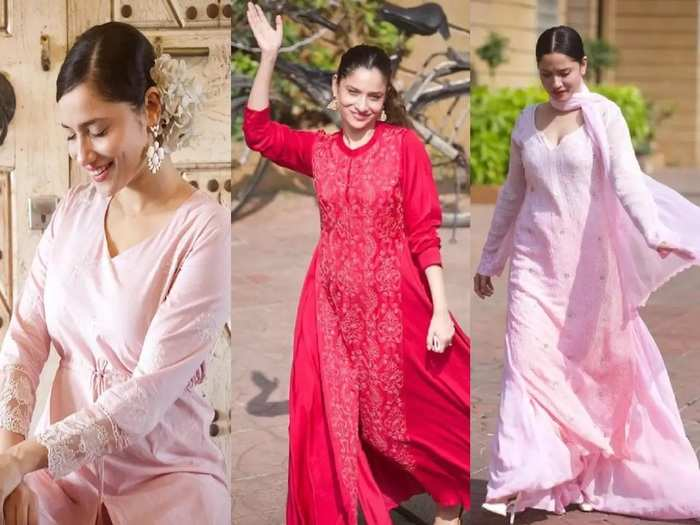 ankita lokhande in long suit design dress see her latest wardrobe collection in marathi