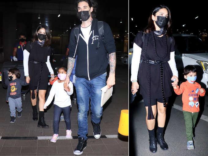 बच्चों के साथ इस स्टाइलिश लुक में एयरपोर्ट पर स्पॉट हुईं सनी लियोनी