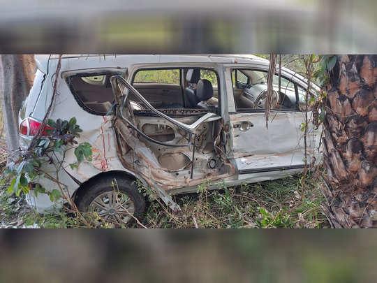 हादसे में क्षतिग्रस्त कार