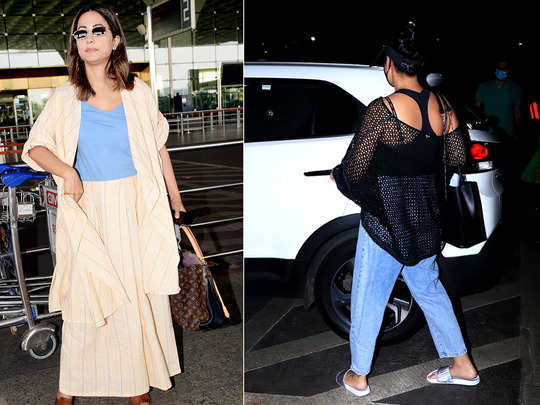 hina khan airport fashion fails to impress and sonakshi sinha knitted top made her look cool