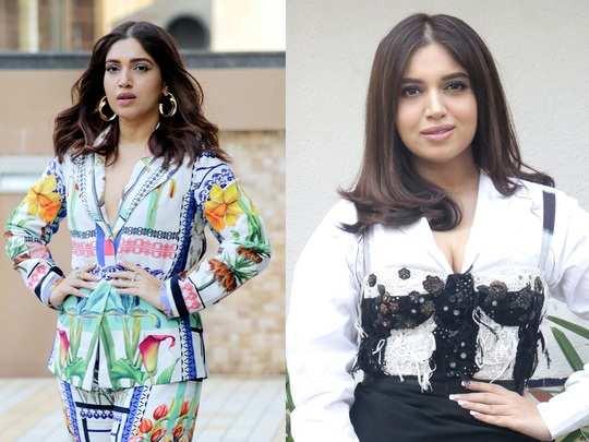 bhumi pednekar looks glamorous in printed suit and saaksha kinni dress for movie durgamati promotion