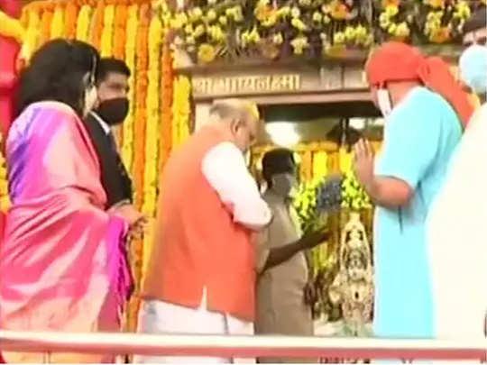 भाग्यलक्ष्मी मंदिरात पूजा, भव्य रोडशो...हैदराबादमध्ये अमित शहा