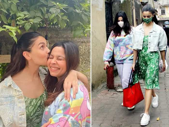 alia bhatt wore green dress designed by saaksha kinni for shaheen bhatt birthday in marathi
