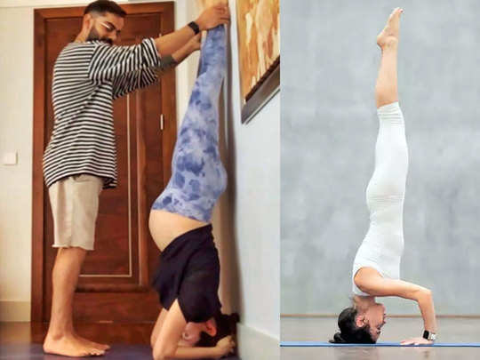 virat kohli supporting anushka sharma in performing sirsasana during her pregnancy