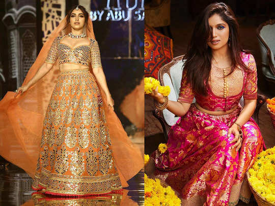 bhumi pednekar lehenga and saree by manish malhotra and other designers which are perfect choice for wedding function