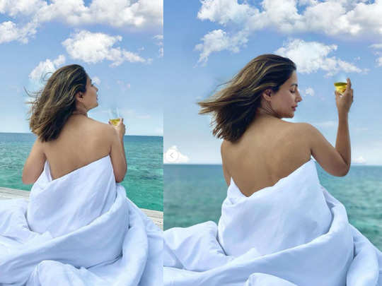 hina khan share pictures wrapped in a blanket with champagne from maldives vacation bold look impress fans