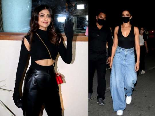 shilpa shetty in all black look and deepika padukone wore plunging neckline top latest photos in marathi