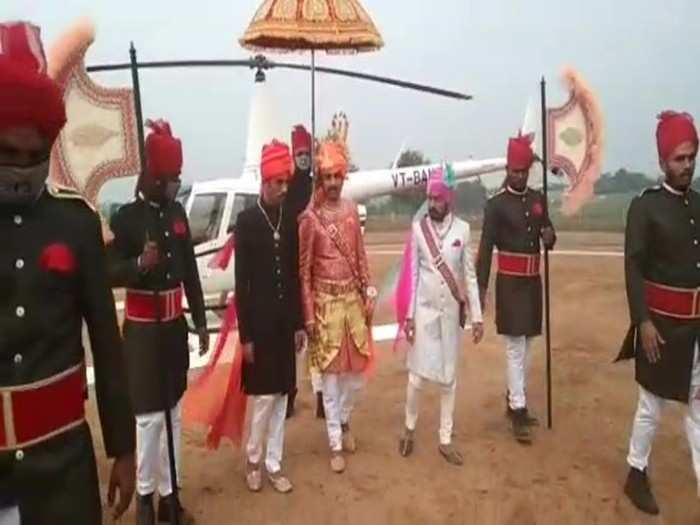 rajasthani groom arrives by helicopter to pick up bride from madhya pradesh