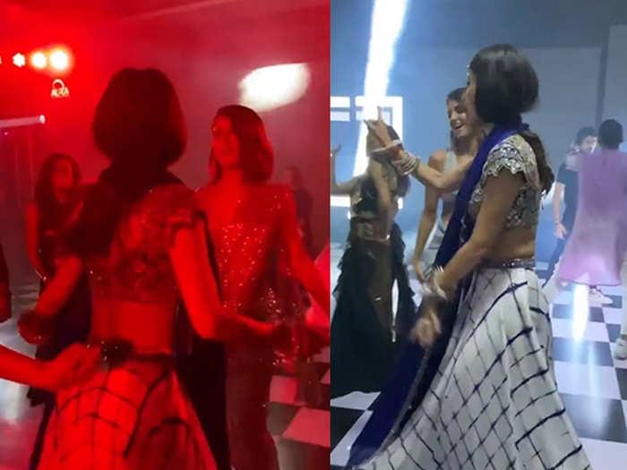 mouni roy dance on salman khan song jiya bekarar and kajra re during punit pathak wedding