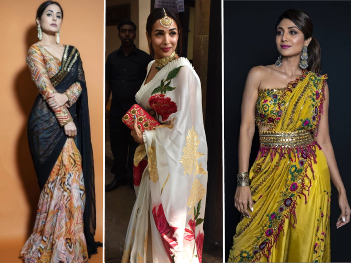from hina khan to shilpa shetty best saris looks of bollywood actress