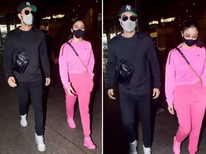 bollywood actress alia bhatt in pink outfit see her latest airport look in marathi