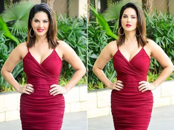 sunny leone glamorous and beautiful look in red color dress in marathi