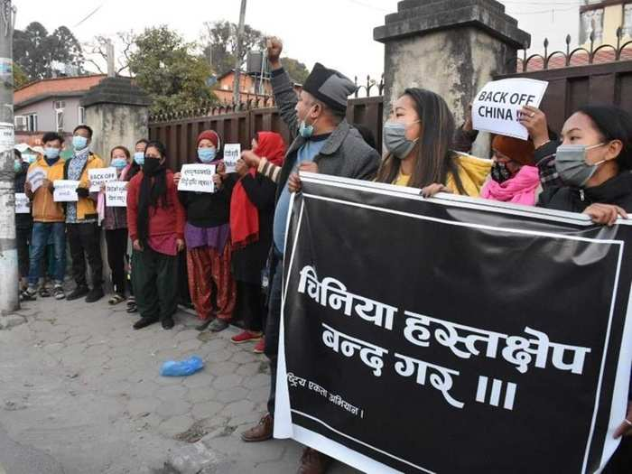 anti-china protests in nepal against xi jinping special envoy guo yechau visit amid nepal political crisis