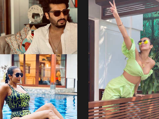 malaika arora shared stylish pictures: Malaika Arora shared stylish pictures of herself chilling by the pool - Navbharat Times