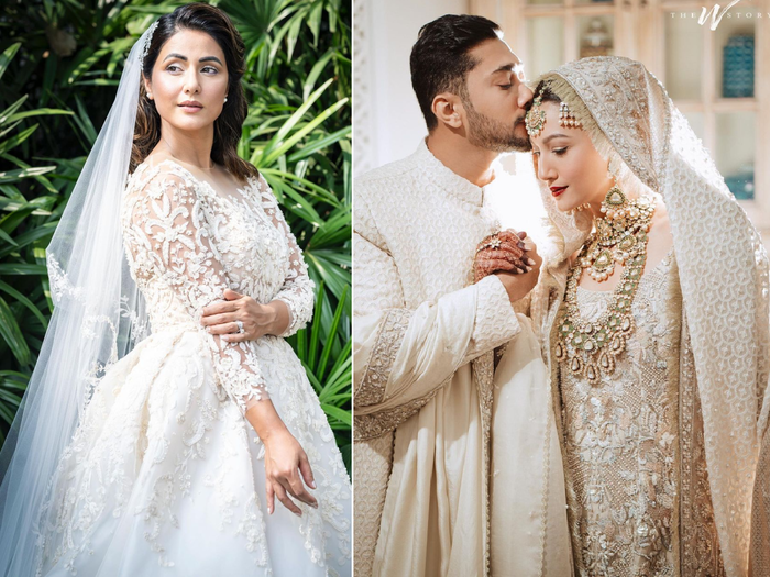 hina khan sizzles in white bridal gown and gauahar khan nikah outfit