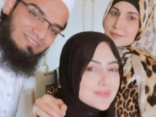 Sana Khan With Husband And Sister