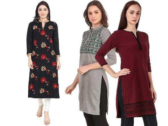 Woolen Kurti On Amazon : फैशन के साथ मिलेगा गर्माहट का एहसास, पहनें यह Woolen Kurti