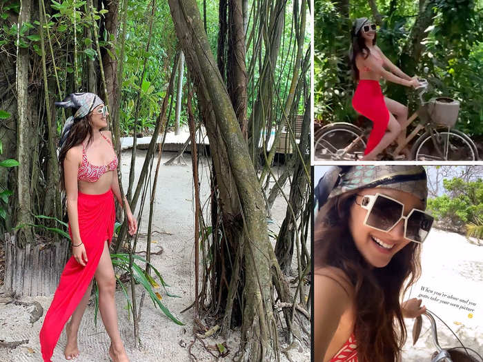 kiara advani shared her gorgeous picture from maldives vacation posing in red