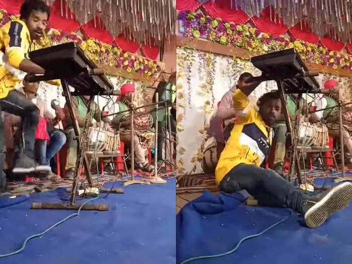 Musician entertains with dance moves while playing keyboard