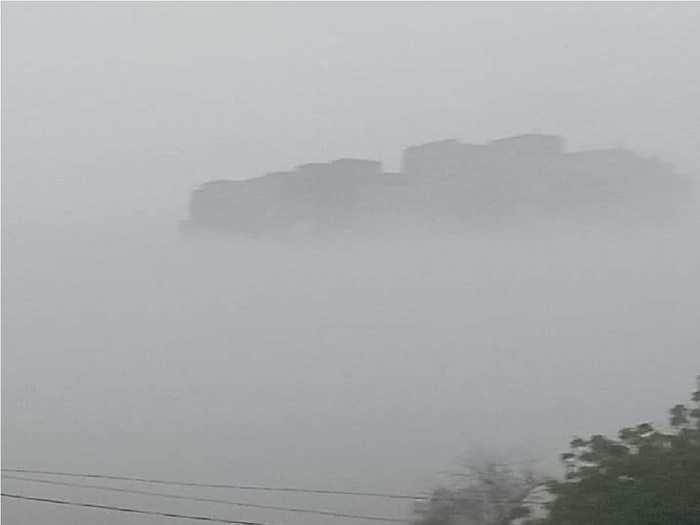mehrangarh fort looks like a ship floating in the sea due to fog rajasthan weather