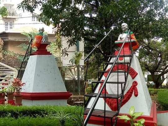 Palakkad Gandhi Statue BJP Flag