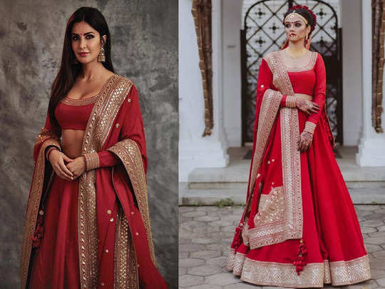 bride in katrina kaif red lehenga designed by sabyasachi mukherjee is getting praised for her beauty