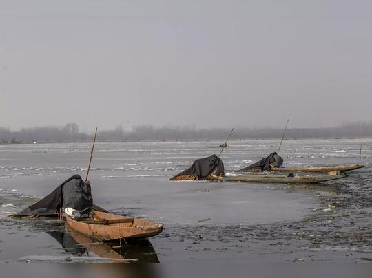 दल सरोवर गोठलं, तापमानानं गेल्या ३० वर्षांचा रेकॉर्ड तोडला
