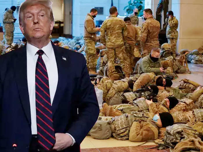 photos show national guard troops sleeping on capitol floors ahead of impeachment vote and joe biden inauguration