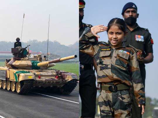 indian army show his strength on army day parade 2021, chief naravane warn china, see photos