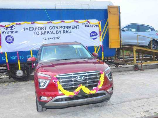 hyundai car export by train, railway tweeted some pictures also