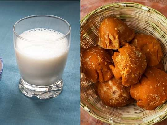 what are the benefits of consuming jaggery and milk together हिंदी में पढ़ें