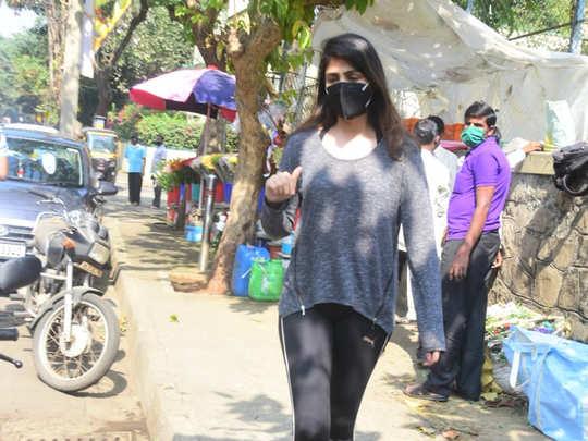 Rhea Chakraborty snapped today in Bandra