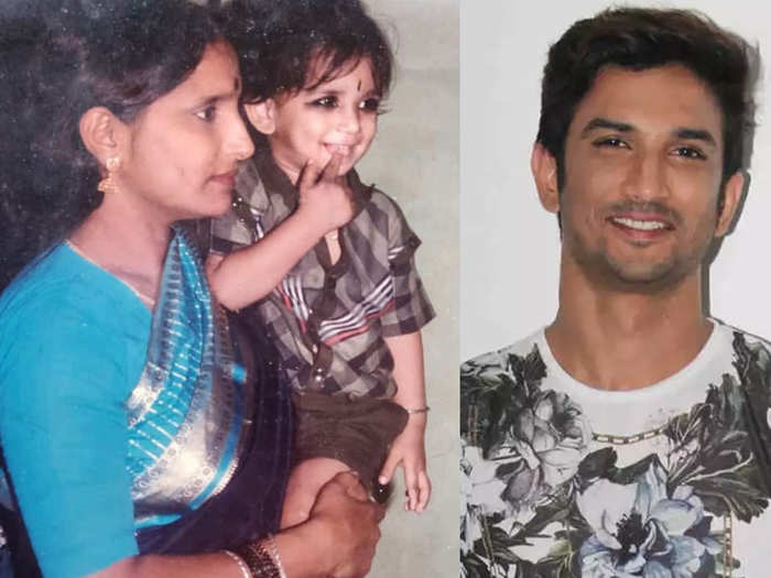 Sushant singh rajput in his moms arm