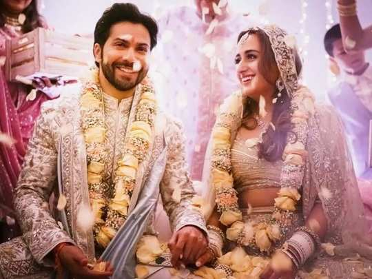 varun dhawan and natasha dalal wore matching regal outfits for their wedding ceremony in marathi
