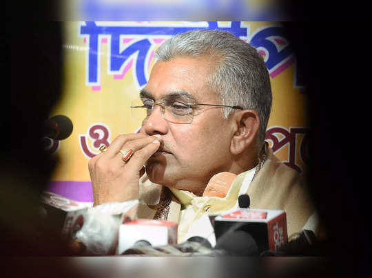 Kolkata: West Bengal BJP President Dilip Ghosh during a press meet in Kolkata. (...