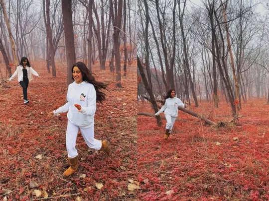 Janhvi Kapoor enjoying in the woods