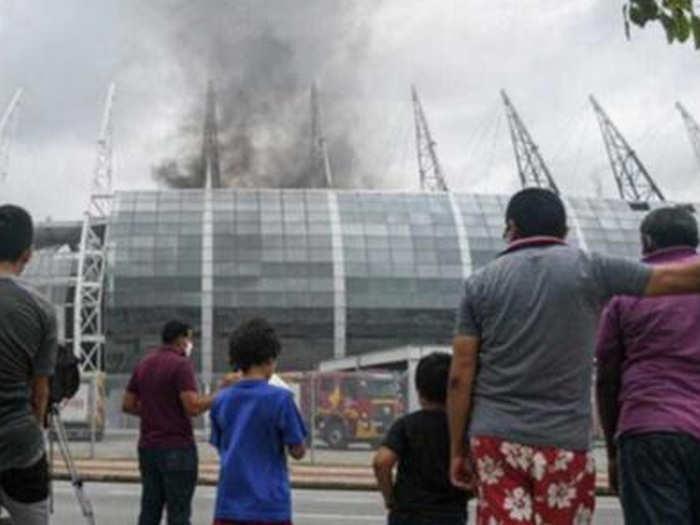 fire in brazil stadium