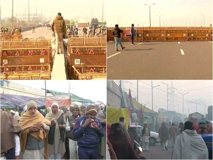 kisan andolan at ghazipur border heavy security deployment and barricading today