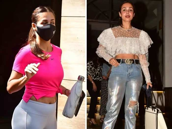 Bollywood actress malaika arora in white crop top and denim jeans see her stylish look in marathi