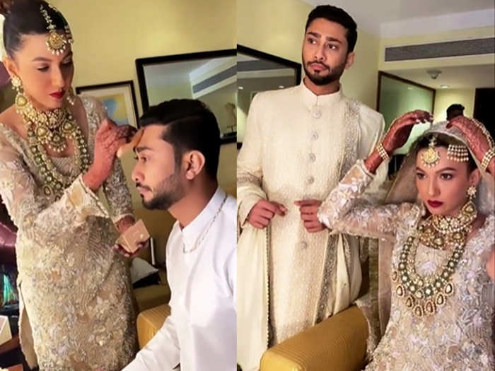 Gauhar khan doing makeup of her husband