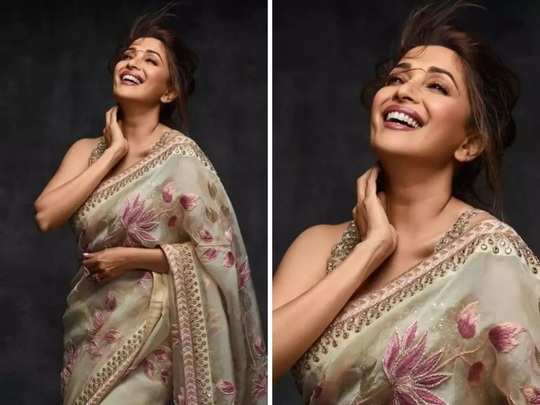 bollywood actress madhuri dixit in black and white colour saree see her beautiful look photos in marathi