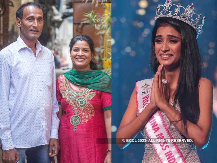 VLCC Femina Miss India 2020 runner up Manya Singh and her parents, Manorama and Omprakash